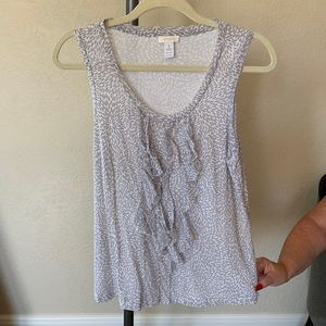 Chicos gray and white mesh top size 1